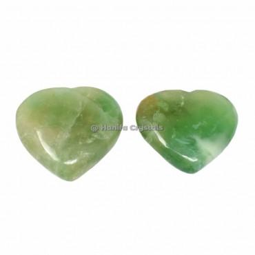 Green Fluorite Puffy Hearts