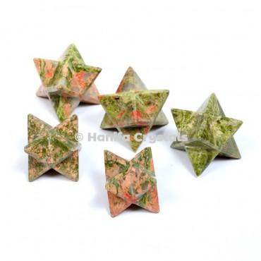 Unakite Merkaba Stars