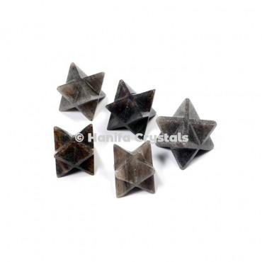 Smokey Agate Merkaba Stars