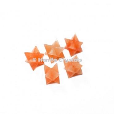 Peach Aventurine Merkaba Stars