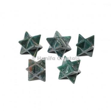 Moss Agate Merkaba Stars