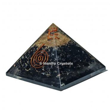 Black Tourmaline Orgone Pyramid With Reiki Symbol