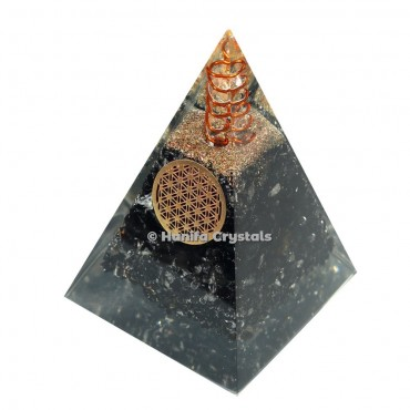 Black Tourmaline Pyramid With Flower of life