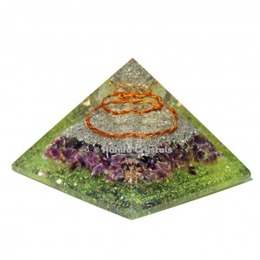 Amethyst Orgonite Emf Protection Pyramid with Peridot Stone