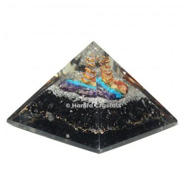 Black Tourmaline Orgonite Emf Protection Pyramid with seven chakra Stone