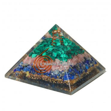 Malachite, Rose and Lapis Lazuli Orgonite Emf Protection Pyramid