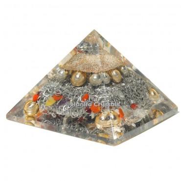 Mix Stone Healing Brass Orgonite Emf Protection Pyramid