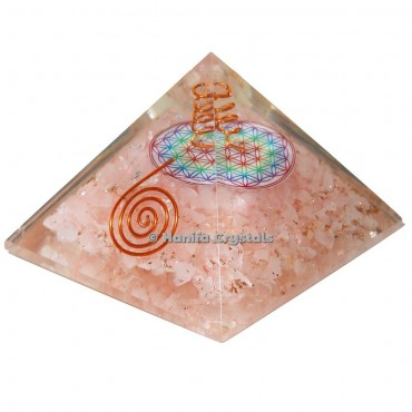 Rose Quartz Orgonite Emf Protection Pyramid with Flower Of Life