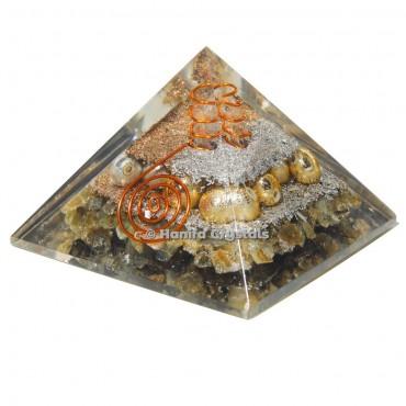 Labradorite Orgonite Emf Protection Pyramid With Metal Ball
