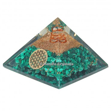 Malachite Orgonite Pyramid with Flower Of Life