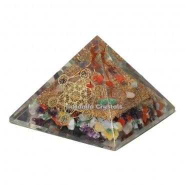 Mix Chakra Orgonite Healing Pyramid