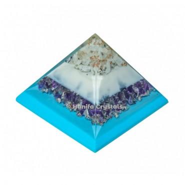 Amethyst Orgonite Pyramid With White Rainbow