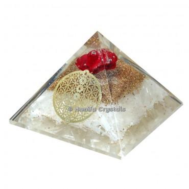 Selenite Orgonite Pyramid Flower of life
