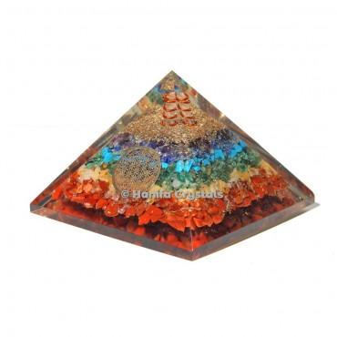 Seven Chakra Healing Orgonite Pyramid