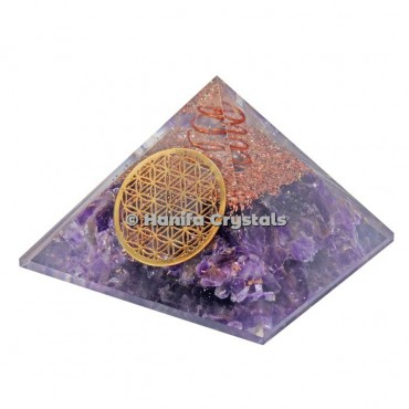 Amethyst With Flower Of life Orgonite Pyramids