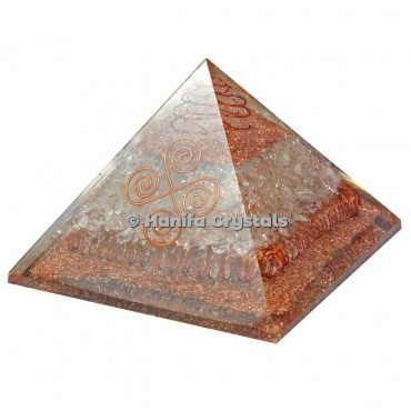 Crystal Quartz With Copper Energy Orgonite Pyramids