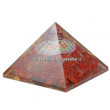 Red Jasper Flower Of Life Printed Orgonite Pyramids