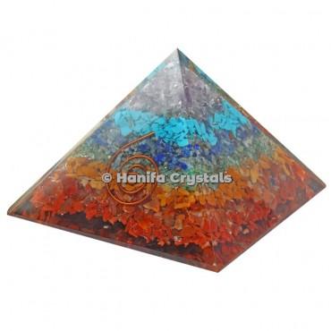 7 Chakra Stones Orgonite Pyramids