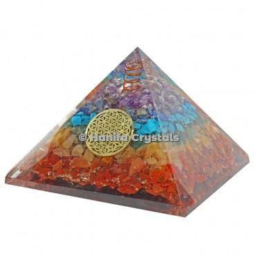 Seven Chakra Layer Orgonite Pyramids