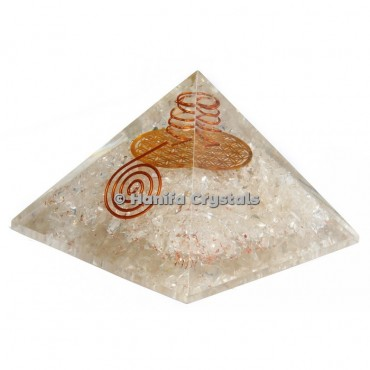 Crystal Quartz Flower Of life Orgonite Pyramids