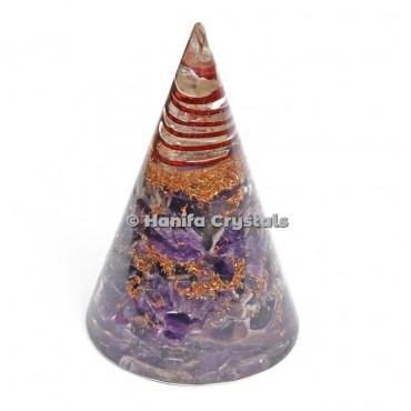 Amethyst Healing Energy Orgone Cone