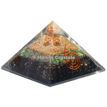 Black Tourmaline With Green Aventurine Orgonite Pyramids