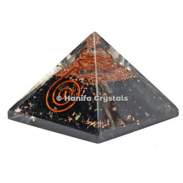 Black Tourmaline With Crystal Point Orgonite Pyramids