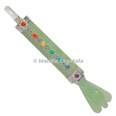 Green Aventurine with Angel With 7 Chakra Healing Wands