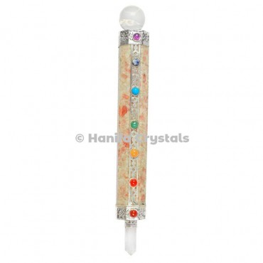 Sunstone with Ball With 7 Chakra Healing Wands