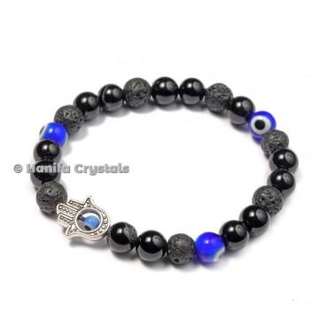 Black Obsidian With Hamsa Blue Third Eye Bracelet