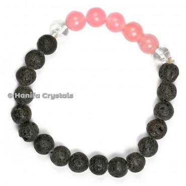 Lava With Crystals Quartz And Rose Quartz Bracelet