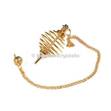Round Spiral Golden Metal Dowsing Pendulum
