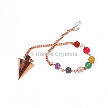 Seven Chakra Brass Copper Cone Dowsing Pendulum