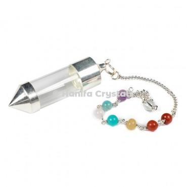 Openable Silver Brass 7 Chakra Dowsing Pendulum