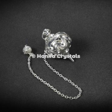 Silver Brass Designable Cage Dowsing Pendulum