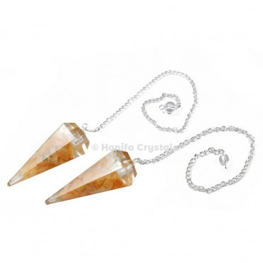 Golden Quartz Orgone Pendulum with Silver Chain