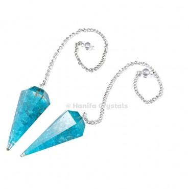 Aqua Orgone Pendulum with Silver Chain