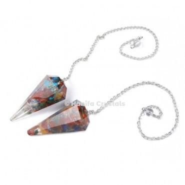 Seven Chakra Orgone Pendulum with Silver Chain