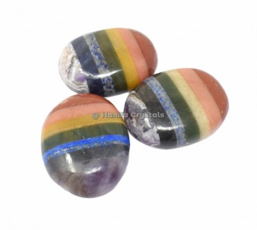 Seven Chakra Bonded Palm Stones