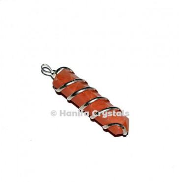 Peach Aventurine Wire Wrap Pencil Pendant