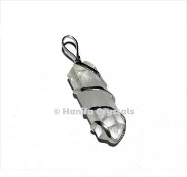 Wire Wrap Crystal Quartz Pencil Pendant