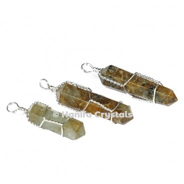 Labrodrite with Double Terminated Wire Wrap Pencil Pendant
