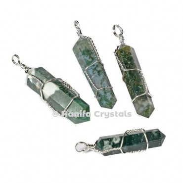Tree Agate with Double Terminated Wire Wrap Pencil Pendant