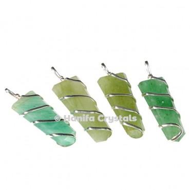 Wire Wrap Green Aventurine Pencil Pendant
