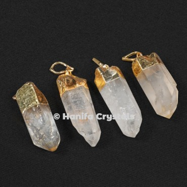 Electroplated Rough Crystal Pencil Pendant