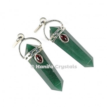Green Jade with Garnet Stone Pencil Pendant