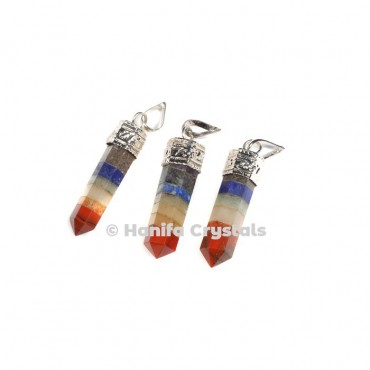 Bonded Seven Chakra with Silver Cap Pencil Pendant