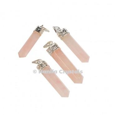Rose Quartz with Silver Cap Pencil Pendant