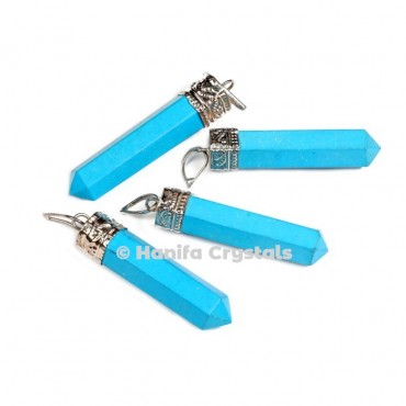 Turquoise with Silver Cap Pencil Pendant