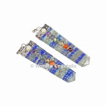 Lapis Lazuli with Seven Chakra Stones & Silver Cap Pencil Pendant